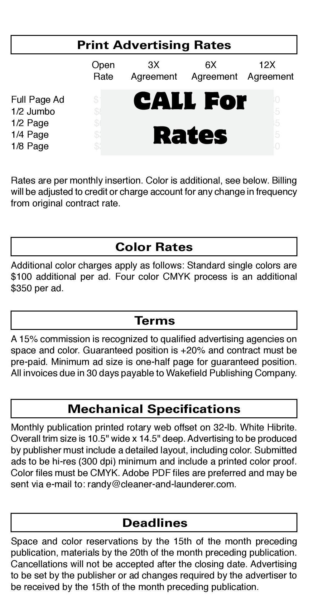 Publication Rates - Cleaner & Launderer
