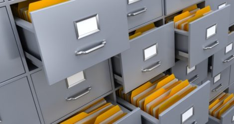 Drawers are filled with manila folders
